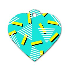 Vintage Unique Graphics Memphis Style Geometric Triangle Line Cube Yellow Green Blue Dog Tag Heart (two Sides)