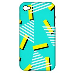 Vintage Unique Graphics Memphis Style Geometric Triangle Line Cube Yellow Green Blue Apple Iphone 4/4s Hardshell Case (pc+silicone)