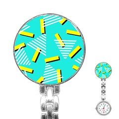 Vintage Unique Graphics Memphis Style Geometric Triangle Line Cube Yellow Green Blue Stainless Steel Nurses Watch