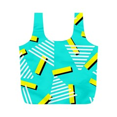 Vintage Unique Graphics Memphis Style Geometric Triangle Line Cube Yellow Green Blue Full Print Recycle Bags (m)