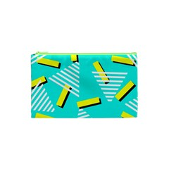 Vintage Unique Graphics Memphis Style Geometric Triangle Line Cube Yellow Green Blue Cosmetic Bag (xs)