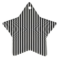 Vertical Lines Waves Wave Chevron Small Black Star Ornament (two Sides)