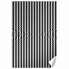 Vertical Lines Waves Wave Chevron Small Black Canvas 24  X 36