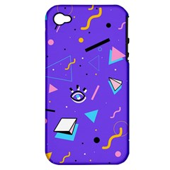 Vintage Unique Graphics Memphis Style Geometric Style Pattern Grapic Triangle Big Eye Purple Blue Apple Iphone 4/4s Hardshell Case (pc+silicone)