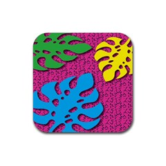 Vintage Unique Graphics Memphis Style Geometric Leaf Green Blue Yellow Pink Rubber Square Coaster (4 Pack)