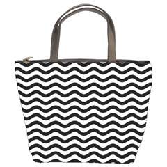 Waves Stripes Triangles Wave Chevron Black Bucket Bags