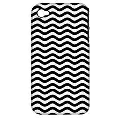 Waves Stripes Triangles Wave Chevron Black Apple Iphone 4/4s Hardshell Case (pc+silicone)