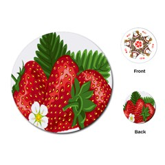 Strawberry Red Seed Leaf Green Playing Cards (round)