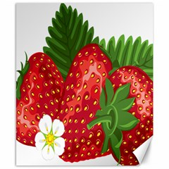 Strawberry Red Seed Leaf Green Canvas 8  X 10