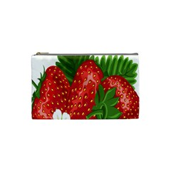 Strawberry Red Seed Leaf Green Cosmetic Bag (small)