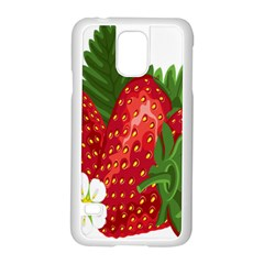 Strawberry Red Seed Leaf Green Samsung Galaxy S5 Case (white)