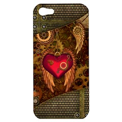 Steampunk Golden Design, Heart With Wings, Clocks And Gears Apple Iphone 5 Hardshell Case