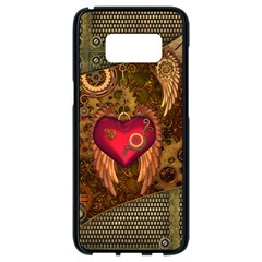 Steampunk Golden Design, Heart With Wings, Clocks And Gears Samsung Galaxy S8 Black Seamless Case