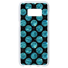 Circles2 Black Marble & Blue Green Water Samsung Galaxy S8 White Seamless Case