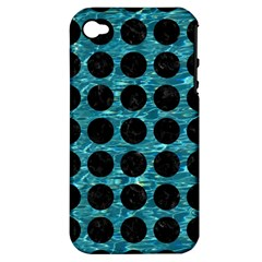 Circles1 Black Marble & Blue Green Water (r) Apple Iphone 4/4s Hardshell Case (pc+silicone)