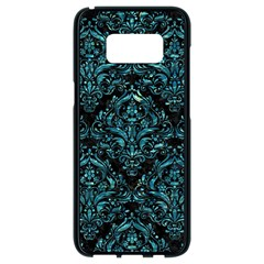 Damask1 Black Marble & Blue Green Water Samsung Galaxy S8 Black Seamless Case