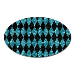 Diamond1 Black Marble & Blue Green Water Magnet (oval)