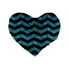 Chevron3 Black Marble & Blue Green Water Standard 16  Premium Flano Heart Shape Cushion