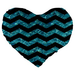Chevron3 Black Marble & Blue Green Water Large 19  Premium Flano Heart Shape Cushion