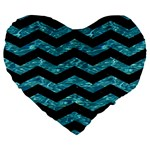 CHEVRON3 BLACK MARBLE & BLUE-GREEN WATER Large 19  Premium Flano Heart Shape Cushion Front