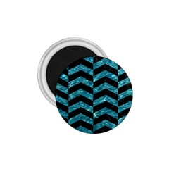 Chevron2 Black Marble & Blue Green Water 1 75  Magnet