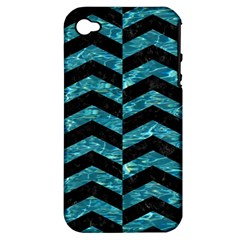Chevron2 Black Marble & Blue Green Water Apple Iphone 4/4s Hardshell Case (pc+silicone)