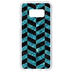 Chevron1 Black Marble & Blue Green Water Samsung Galaxy S8 White Seamless Case