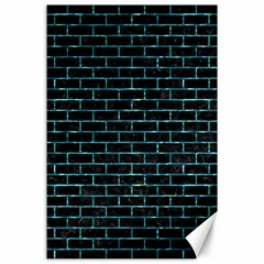 Brick1 Black Marble & Blue Green Water Canvas 24  X 36