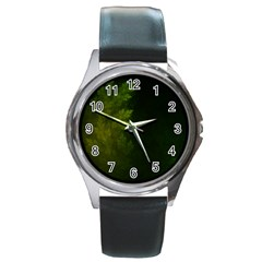 Beautiful Fractal Pines In The Misty Spring Night Round Metal Watch