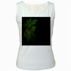 Beautiful Fractal Pines In The Misty Spring Night Women s White Tank Top