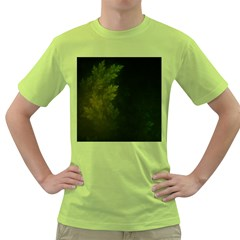 Beautiful Fractal Pines In The Misty Spring Night Green T-Shirt
