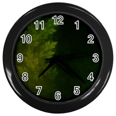 Beautiful Fractal Pines In The Misty Spring Night Wall Clocks (Black)