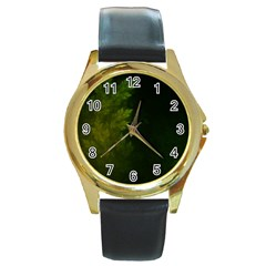 Beautiful Fractal Pines In The Misty Spring Night Round Gold Metal Watch