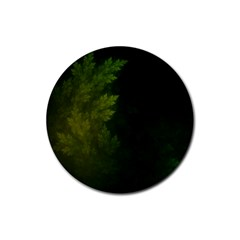 Beautiful Fractal Pines In The Misty Spring Night Rubber Coaster (Round)