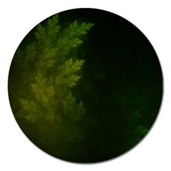 Beautiful Fractal Pines In The Misty Spring Night Magnet 5  (Round)