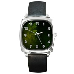 Beautiful Fractal Pines In The Misty Spring Night Square Metal Watch