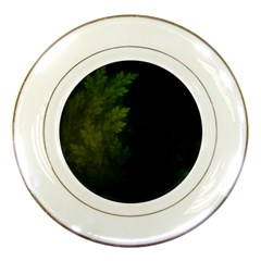 Beautiful Fractal Pines In The Misty Spring Night Porcelain Plates