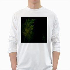 Beautiful Fractal Pines In The Misty Spring Night White Long Sleeve T-Shirts