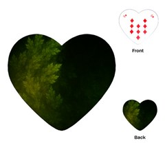 Beautiful Fractal Pines In The Misty Spring Night Playing Cards (heart)