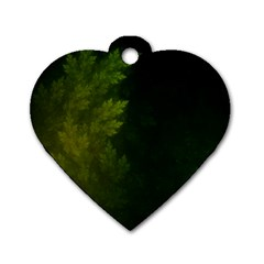 Beautiful Fractal Pines In The Misty Spring Night Dog Tag Heart (One Side)