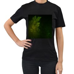 Beautiful Fractal Pines In The Misty Spring Night Women s T-Shirt (Black)