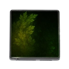 Beautiful Fractal Pines In The Misty Spring Night Memory Card Reader (Square)
