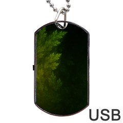 Beautiful Fractal Pines In The Misty Spring Night Dog Tag USB Flash (One Side)