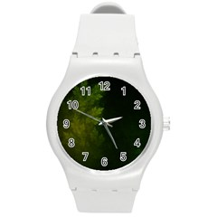 Beautiful Fractal Pines In The Misty Spring Night Round Plastic Sport Watch (M)