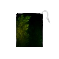 Beautiful Fractal Pines In The Misty Spring Night Drawstring Pouches (Small)