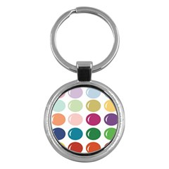 Brights Pastels Bubble Balloon Color Rainbow Key Chains (Round)