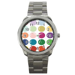 Brights Pastels Bubble Balloon Color Rainbow Sport Metal Watch