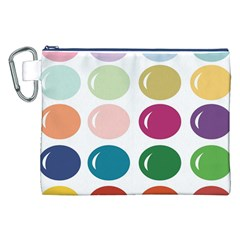 Brights Pastels Bubble Balloon Color Rainbow Canvas Cosmetic Bag (XXL)