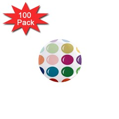 Brights Pastels Bubble Balloon Color Rainbow 1  Mini Magnets (100 pack)