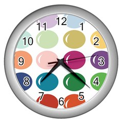 Brights Pastels Bubble Balloon Color Rainbow Wall Clocks (silver)